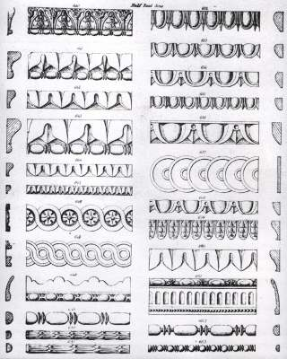 Commercial illustrations of the standard small mouldings or castings used in the 19th Century