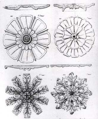 A page from Bielfelds catalogue showing several types of ceiling rose