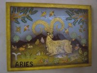 Zodiac, Aries hand-painted wooden tray. This piece is simply the best example of their decorative painting technique that I own.