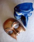 mini comedia masks by Louise Rosenfeld
