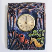Yellow Seahorse Clock by Christina Colwell
