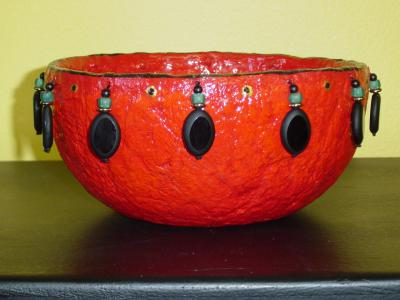 """red beaded bowl"" by Andrea Charendoff"