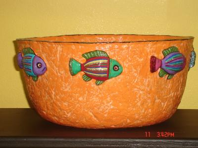 """large orange fish bowl"" by Andrea Charendoff"