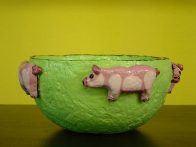 """small green pig bowl"" by Andrea Charendoff"