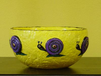 """yellow snail bowl"" by Andrea Charendoff"