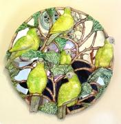 Green Pigeons mirror by Antonia Galloway