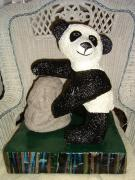 Panda Touching Boulder On  A Bamboo Photo Base by Carolyn Bispels