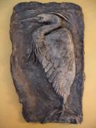 Blue heron relief by Joanne Pringle