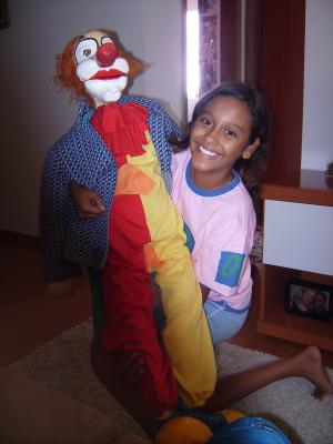 """Clown "" Meleca"". Doll ventríloco in paper marches with size of 1,20m"" by Jorge Eduardo"