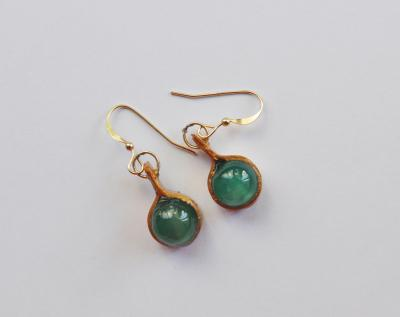 """Recycled paper gold earrings with inlay of turquoise stones"" by Minna Ben-Nun"