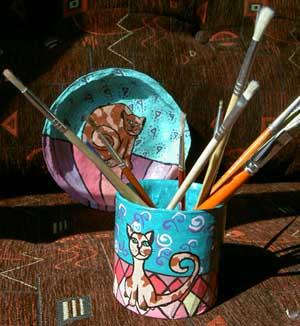 """Cat Plate and Pen Holder"" by Bilja"