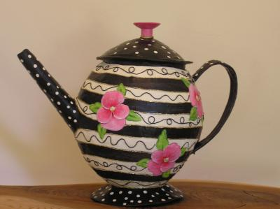 """Storage Teapot Pansies"" by Ina Griet"