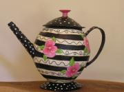 Storage Teapot Pansies by Ina Griet